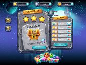 stock photo of prize  - Illustration fabulous space with planets and funny examples of window decoration of the user interface for computer games and web design with buttons prizes levels and other elements - JPG
