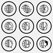 Globe set. Black and white set vector icons.