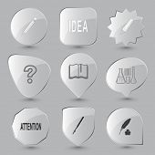 Education set. Vector glass buttons.