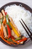 Rice Noodles With Chicken Macro, Vertical Top View