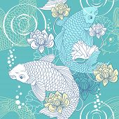 stock photo of koi tattoo  - Koi carp seamless vector pattern light blue pattern - JPG