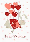 Valentine rabbit flying on heart shaped baloons