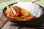 Asian Food: Chicken With Vegetables And Rice Noodles Horizontal