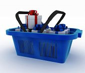 Blue plastic shopping basket with boxes of gifts. 3d render illustration on white background
