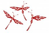 Red White Paint Made Dragonfly Set