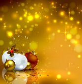 gold background with Christmas baubles