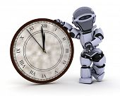 3D Render of a Robot with clock at new years