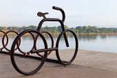 Bicycle Parking Lot Beside The River