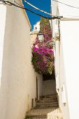 stock photo of costa blanca  - Old town street with white houses Altea Costa Blanca - JPG
