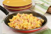 Scramble Eggs With Ham And Cheese