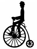 stock photo of penny-farthing  - Illustration silhouette of a rider on an old - JPG