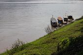 The Boat Parking Near Riverside In Mekong River