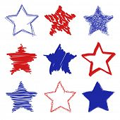 Hand drawn red blue stars shapes