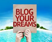 Blog Your Dreams card with a beach on background