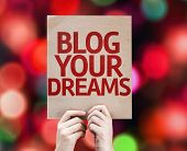Blog Your Dreams card with colorful background with defocused lights