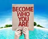 Become Who You Are card with a beach on background
