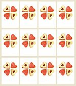 Isolated sweet heart shaped cookies as ready printable gift labels