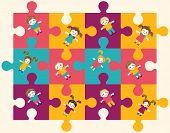 Cheerful Abstract Colorful Puzzle Pattern Background
