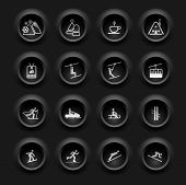 Winter Icons - Buttons Set - Ski sport - Black Series