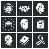 Minsk Agreement Vector Icons Set