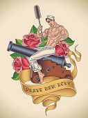 Old-school tattoo of a handsome sailor is straddling on a cannon with a ramrod in his hand on the background of red roses. Editable vector illustration.