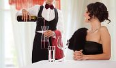 Waitress serving wine to a smiling lady guest. Isolated with work path