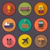 Flat Shipping And Cargo Icon Set