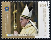ARGENTINA - CIRCA 2013: A stamp printed in Argentina shows pope Francis I circa 2013