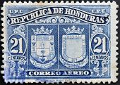 HONDURAS - CIRCA 1970: A stamp printed in Honduras shows historical shields circa 1970