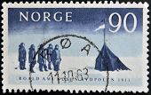 NORWAY - CIRCA 1961: A stamp printed in Norway shows The arrival at the South Pole by Amundsen