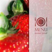 restaurant menu design on realistic blurred background of ripe strawberries with paper wrinkled semi