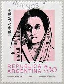 ARGENTINA - CIRCA 1986: Stamp printed in Argentina shows Indira Gandhi circa 1986