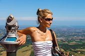 Attractive Girl On The Observation Deck Fortresses Of San Marino