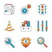 Basic Work Elements Line Icons Set