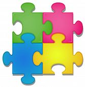 Illustration of colorful pieces of jigsaw