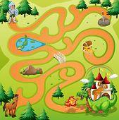 Maze game board with warrior an dragon theme