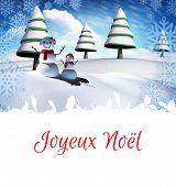 Joyeux noel against snow man family