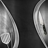 Modern Blackboard With Kitchen Utensils