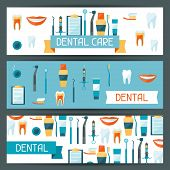 stock photo of diagnostic medical tool  - Medical banners design with dental equipment icons - JPG