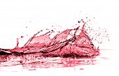 red wine splash isolated on white
