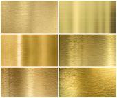 Golden or brass metal texture or background set