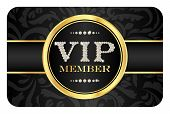 stock photo of compose  - Luxury VIP member badge on black card with floral pattern - JPG