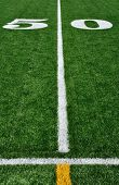 50 Yard Line On American Football Field