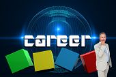 The word career and thinking businessman against futuristic glowing black background