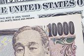 Japanese yen bank note and dollar bank note