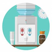 Flat vector icon for office. Water cooler