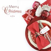 Modern Christmas Table Place Settings In Red And White Theme,with Merry Christmas Sample Text And Co