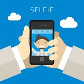 Selfie Concept. Hand Of Person Taking Photo Using Camera. Flat Design Style