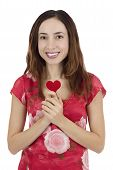 Woman In Red Dress Holding A Red Heart