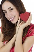 Smiling Woman Holding A Heart